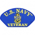 "PATCH-USN, HAT, CPO, VETERAN (3""X5-1/4"") - WITH THE OPTION TO HAVE IT ADDED TO A HAT"
