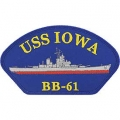"PATCH-USS, IOWA (3""X5-1/4"") - WITH THE OPTION TO HAVE IT ADDED TO A HAT"
