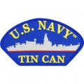 "PATCH-USN,HAT,TIN CAN (3""X5-1/4"") -WITH THE OPTION TO HAVE IT ADDED TO A HAT"