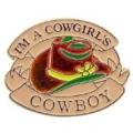 """PIN-COWBOY, HAT, I'M A COWGIRLS COWBOY (1"""")"""