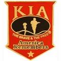 "PIN-KIA, AMERICA REMEMBERS (SHIELD) RED/BLK (1-1/16"")"