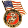 "PIN-USMC LOGO, W/USA FLAG (1-1/4"")"