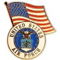 "PIN-USAF LOGO, W/USA FLAG (1-1/4"")"