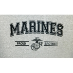 PROUD ARMY OR MARINE  FAMILY- GREY HOODIE -  CHOOSE YOUR PRINT/DESIGN
