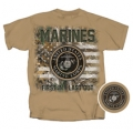 MARINES REAL TREE CAMO AMERICAN FLAG T-SHIRT