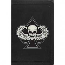 "WALLET-DEATH WINGS,SPADE (HVY.DUTY NYLON/VELCRO) (3-1/2""X5"")"