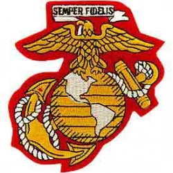 """PATCH-USMC EGA (04) (YLW/WHT) (4-1/8"""") - WITH THE OPTION TO HAVE IT ADDED TO A HAT"""